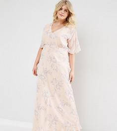 Платье макси с розами ASOS CURVE WEDDING - Розовый