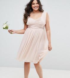 Платье миди с оборками ASOS CURVE WEDDING - Розовый