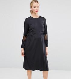 Платье миди для беременных с длинными рукавами ASOS Maternity - Темно-синий