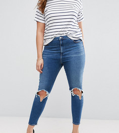 Темные рваные джинсы скинни с завышенной талией ASOS CURVE - Синий