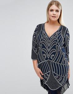Цельнокройное платье с отделкой и бахромой Lovedrobe Luxe - Темно-синий
