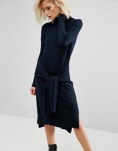 Трикотажное платье с завязкой спереди River Island - Темно-синий