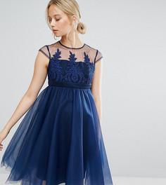 Платье на выпускной для беременных с вышивкой Chi Chi London Maternity - Темно-синий