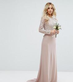 Кружевное платье макси с бантом на спине TFNC Petite Wedding - Розовый