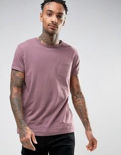 Розовая футболка с закатанными рукавами и карманом River Island - Розовый