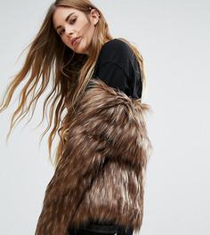 Джинсовая куртка без воротника Unreal Fur Dream - Коричневый