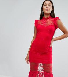 Кружевное платье миди с оборкой и высокой горловиной NaaNaa - Красный
