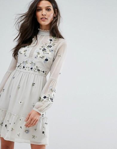 Платье мини с вышивкой River Island - Серый