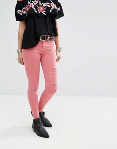 Рваные джинсы скинни River Island Molly - Розовый
