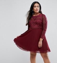 Короткое приталенное платье с отделкой AX Paris Plus - Красный