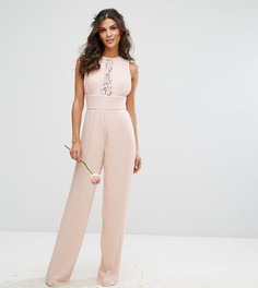 Комбинезон с широкими брюками плиссе и кружевной отделкой TFNC WEDDING - Розовый