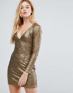 Облегающее платье с отделкой Little Mistress - Золотой