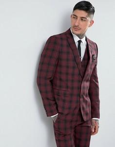 Приталенный пиджак в клетку тартан Harry Brown - Красный