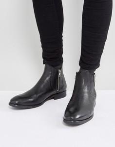 Кожаные ботинки на молнии H London Mitchell - Черный