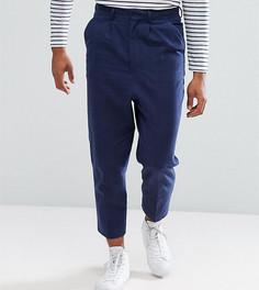 Темно-синие фактурные строгие брюки с добавлением льна и заниженной проймой ASOS TALL - Темно-синий