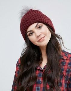 Вязаная шапка с помпоном из искусственного меха Alice Hannah - Красный