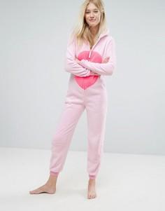 Розовый комбинезон Фламинго с 3D-отделкой Loungeable - Розовый