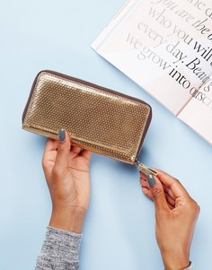Кожаный кошелек на молнии Made - Золотой