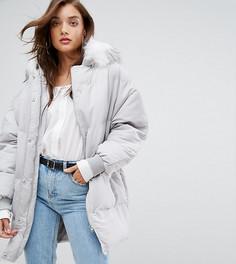 Дутое пальто с меховой отделкой на капюшоне Boohoo - Серый
