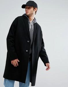 Черное полушерстяное пальто с заниженной линией плеч ASOS - Черный
