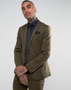 Супероблегающий однотонный пиджак Devils Advocate - Зеленый