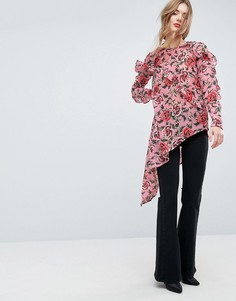 Асимметричная блузка с цветочным принтом и оборками ASOS Ultimate - Мульти