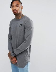 Серый лонгслив с логотипом на манжетах Nike 888422-071 - Серый