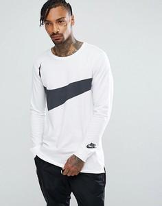 Белый лонгслив с большим логотипом-галочкой Nike 875715-100 - Белый