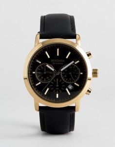 Золотистые часы с хронографом и черным кожаным ремешком Sekonda эксклюзивно для ASOS - Черный