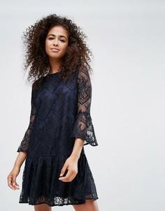Кружевное платье Ganni Flynn - Темно-синий