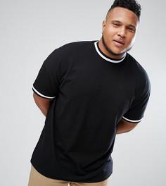 Оверсайз-футболка из пике с контрастной окантовкой ASOS PLUS - Черный