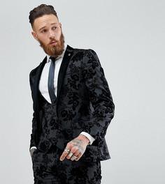 Приталенный пиджак с бархатистым узором Noose & Monkey - Черный