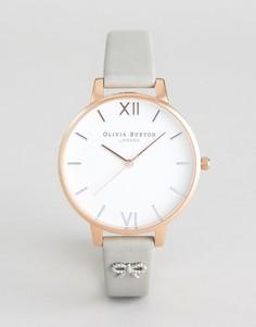 Часы с серым кожаным ремешком и бантиком Olivia Burton OB16VB06 Vintage - Серый