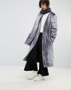 Длинное дутое пальто из бархата со съемным шарфом House Of Sunny - Серый