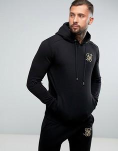 Худи черного цвета с золотистым логотипом SikSilk - Черный