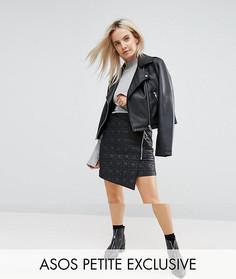 Дутая мини-юбка с молнией эксклюзивно для ASOS PETITE - Черный