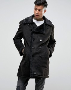 Черное двубортное пальто из искусственной овчины Sixth June - Черный