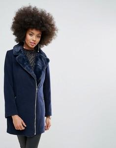 Темно-синее длинное байкерское пальто на подкладке из искусственного меха Missguided - Темно-синий