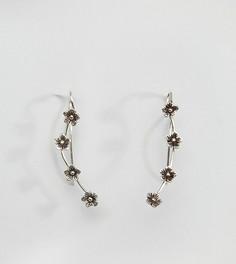 Серебряная серьга-клаймбер с цветком Kingsley Ryan - Серебряный