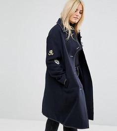 Пальто с нашивками в стиле милитари ASOS CURVE - Темно-синий