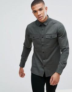 Саржевая рубашка узкого кроя в стиле милитари Only & Sons - Зеленый