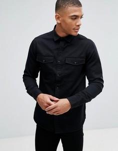 Саржевая рубашка узкого кроя в стиле милитари Only & Sons - Черный