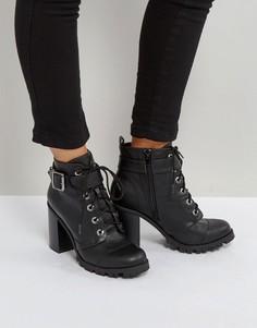 Бархатные ботинки на каблуке Qupid - Черный