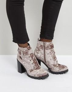 Бархатные ботинки на каблуке Qupid - Серый