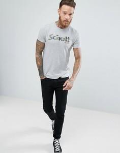 Серая меланжевая футболка узкого кроя с камуфляжным принтом Schott - Серый