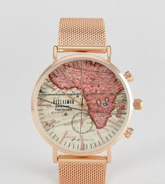 Золотисто-розовые часы с сетчатым браслетом и принтом карты на циферблате Reclaimed Vintage Inspired эксклюзивно для ASOS - Золотой