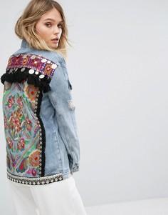 Джинсовая куртка с вышивкой на спине River Island - Синий