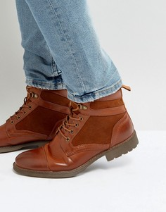 Светло-коричневые ботинки из искусственной кожи на шнуровке ASOS - Рыжий