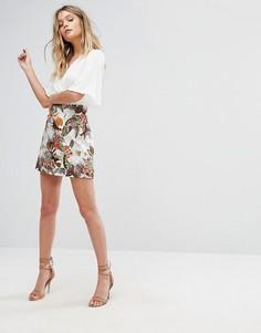 А-образная мини-юбка с цветочным принтом River Island - Мульти
