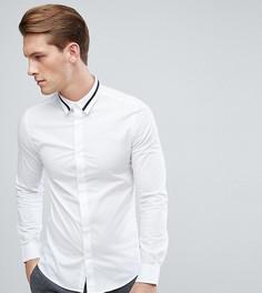 Строгая приталенная рубашка с отделкой на воротнике Only & Sons - Белый